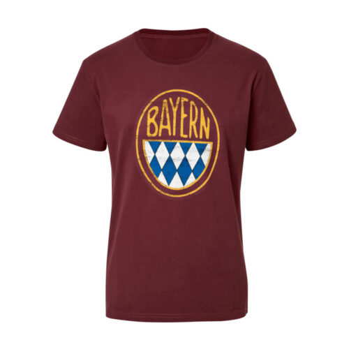 Bayern Retro Logo Tee Shirt Casual Bordeaux