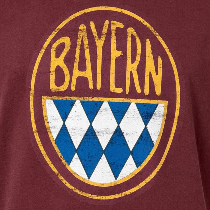 Bayern Retro Logo Maglietta Casual Bordeaux