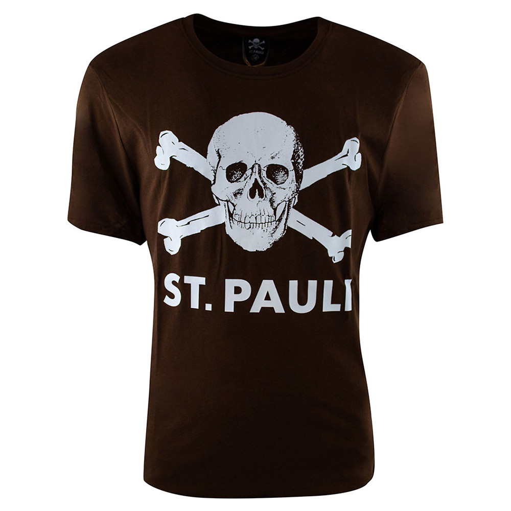 Berühmt St Pauli Totenkopf Casual T-shirt Brown - Retro Football Club ® &ZZ_84