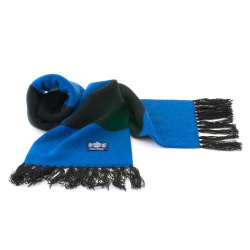 Sciarpa Cashmere Azzurro-Nero Deluxe