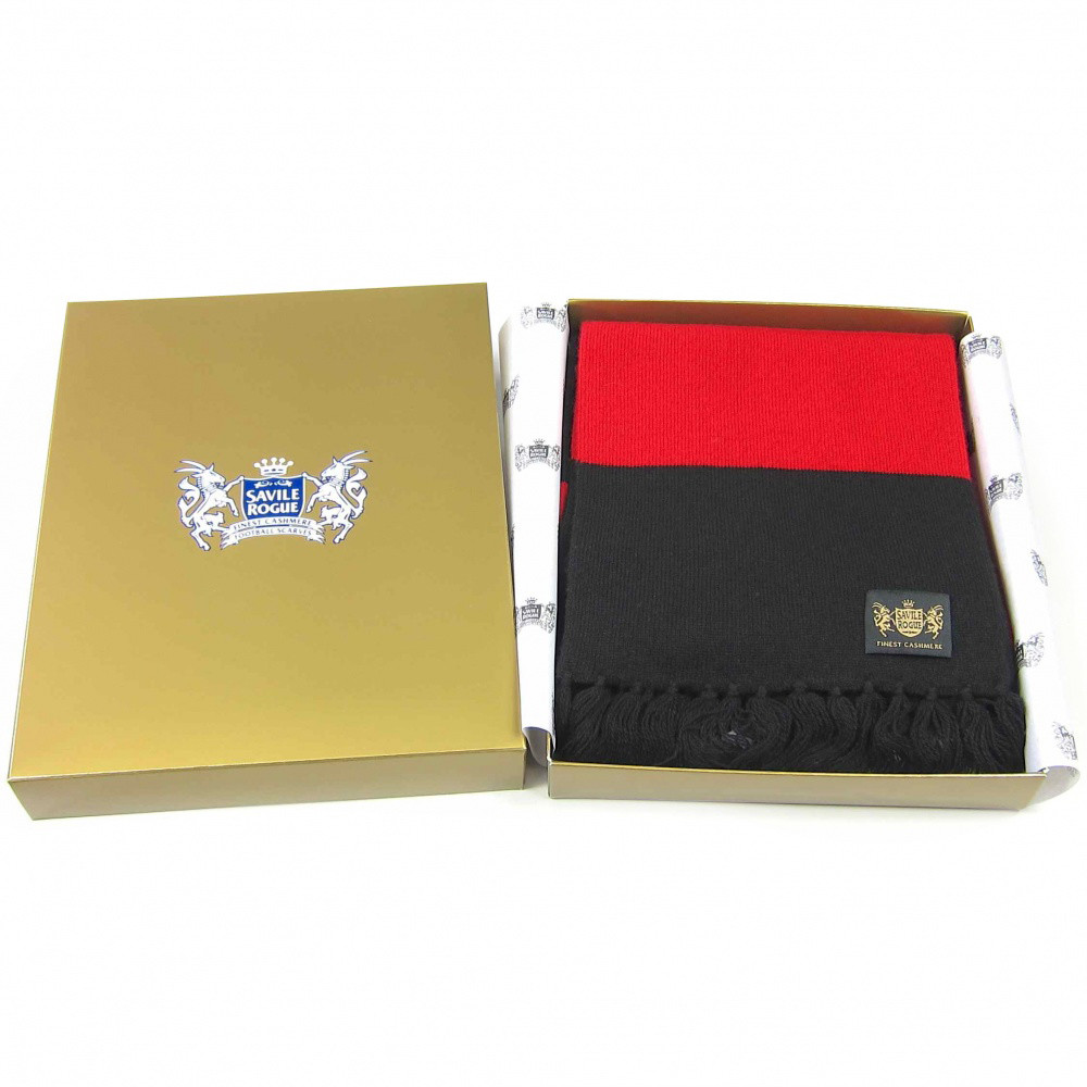 Sciarpa Cashmere Nero-Rosso Deluxe