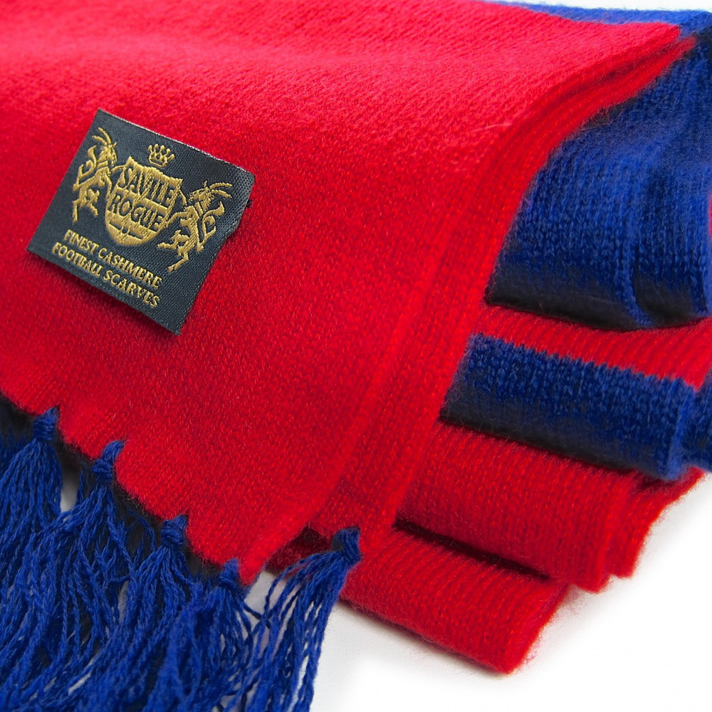 Sciarpa Cashmere Azzurro-Rosso Deluxe