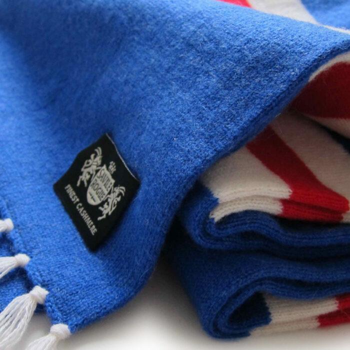Sciarpa Cashmere Azzurro-Bianco-Rosso Deluxe