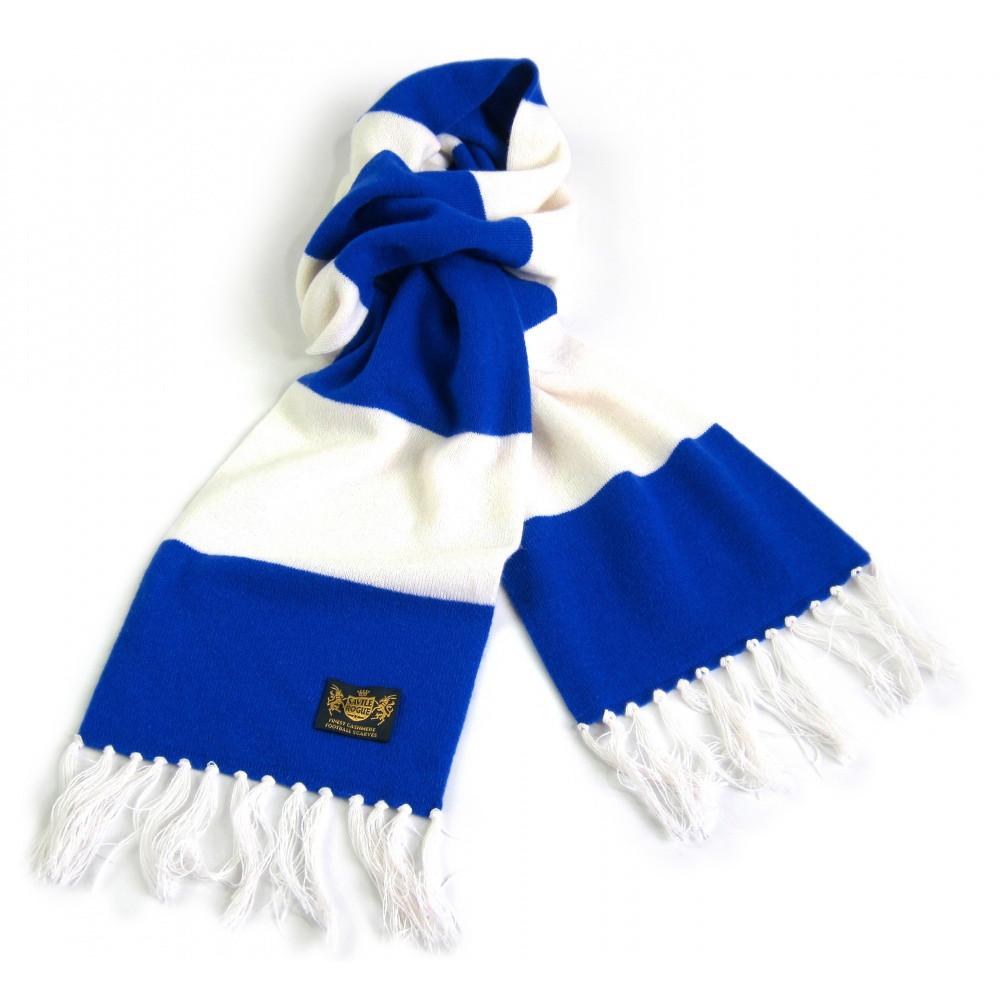 Sciarpa Cashmere Azzurro-Bianco Deluxe
