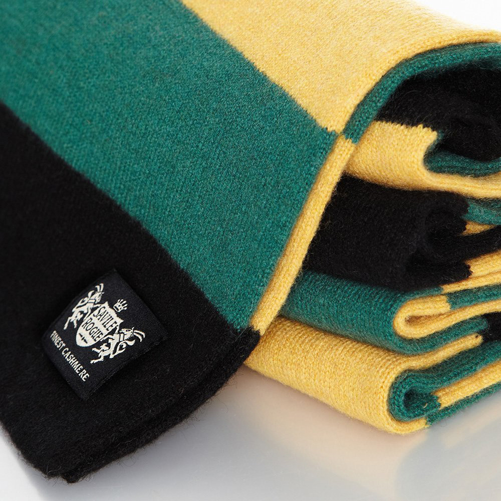 Sciarpa Cashmere Giallo-Nero-Verde Minibar