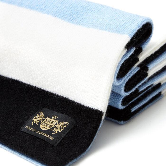 Sciarpa Cashmere Bianco-Celeste-Nero Minibar
