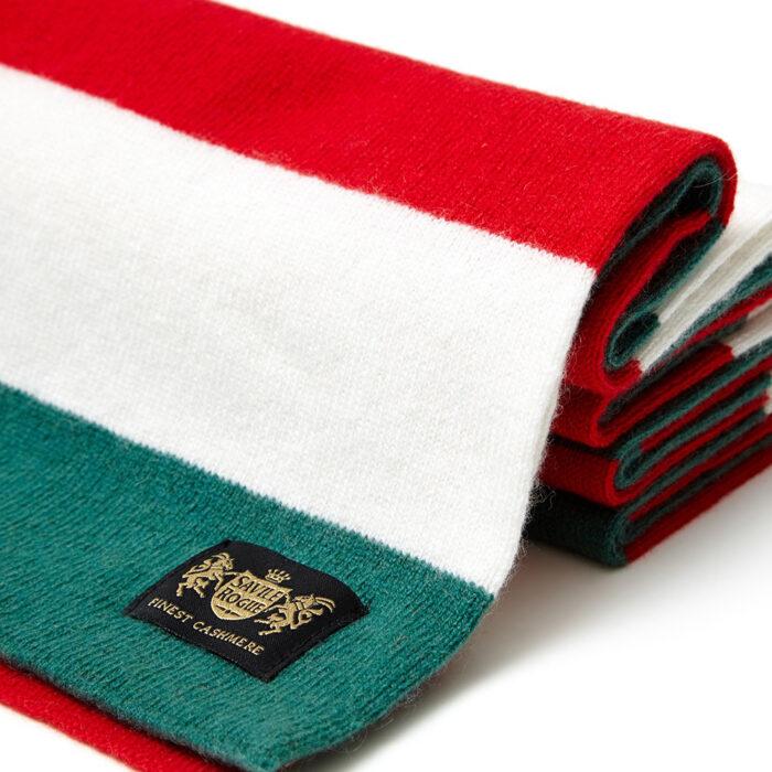 Sciarpa Cashmere Bianco-Rosso-Verde Minibar