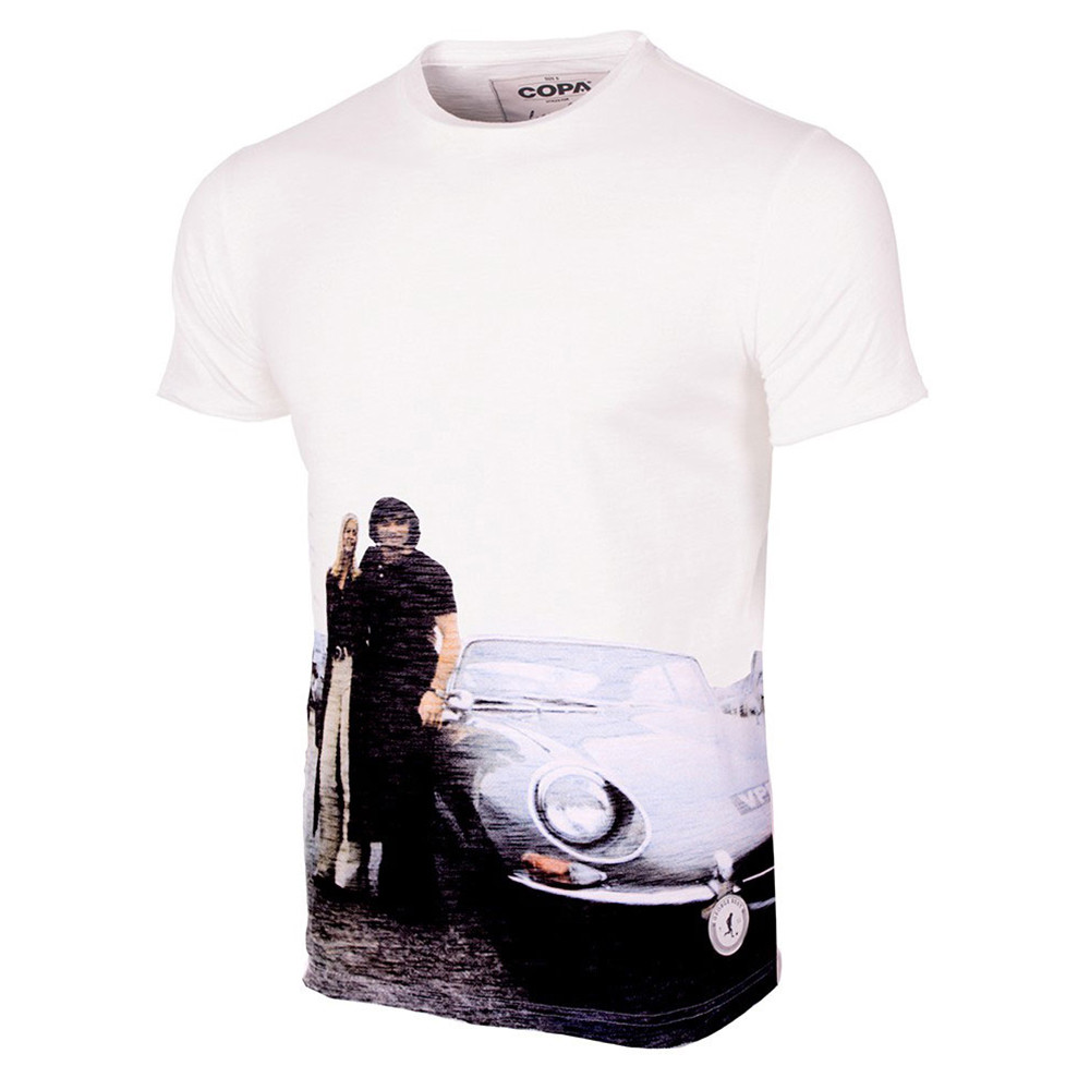 George Best E Type All Over Casual T Shirt Retro Football Club