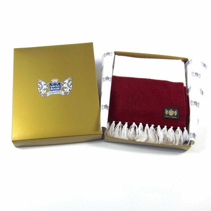 Sciarpa Cashmere Bianco-Granata Deluxe