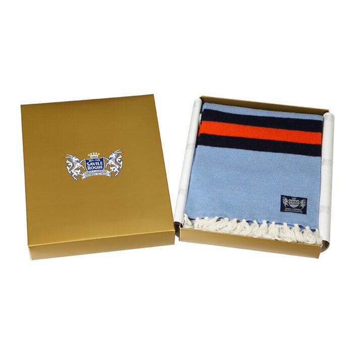 Sciarpa Cashmere Arancione-Bianco-Blu-Celeste Deluxe