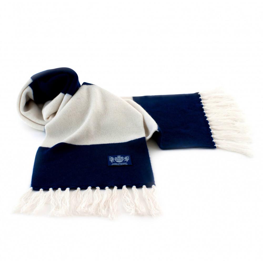 Sciarpa Cashmere Bianco-Blu Deluxe