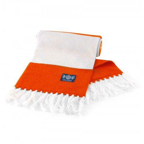 Sciarpa Cashmere Arancione-Bianco Deluxe
