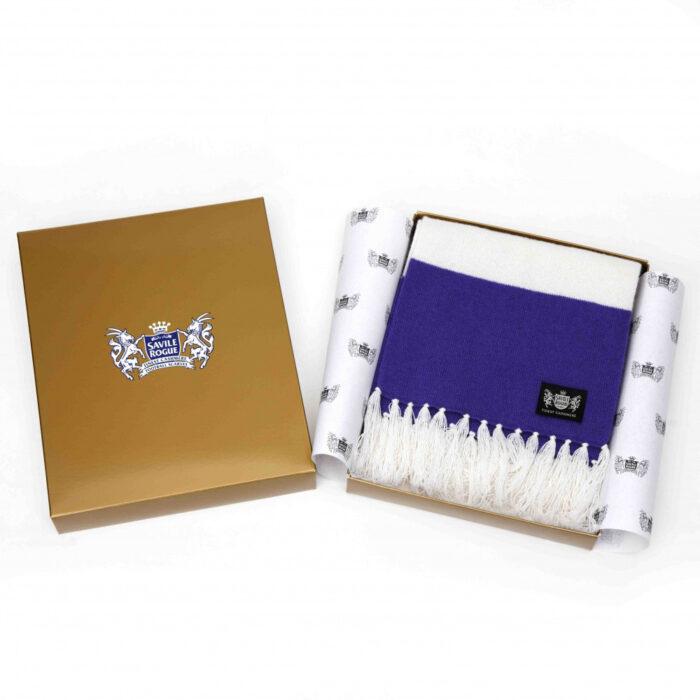 Sciarpa Cashmere Bianco-Viola Deluxe