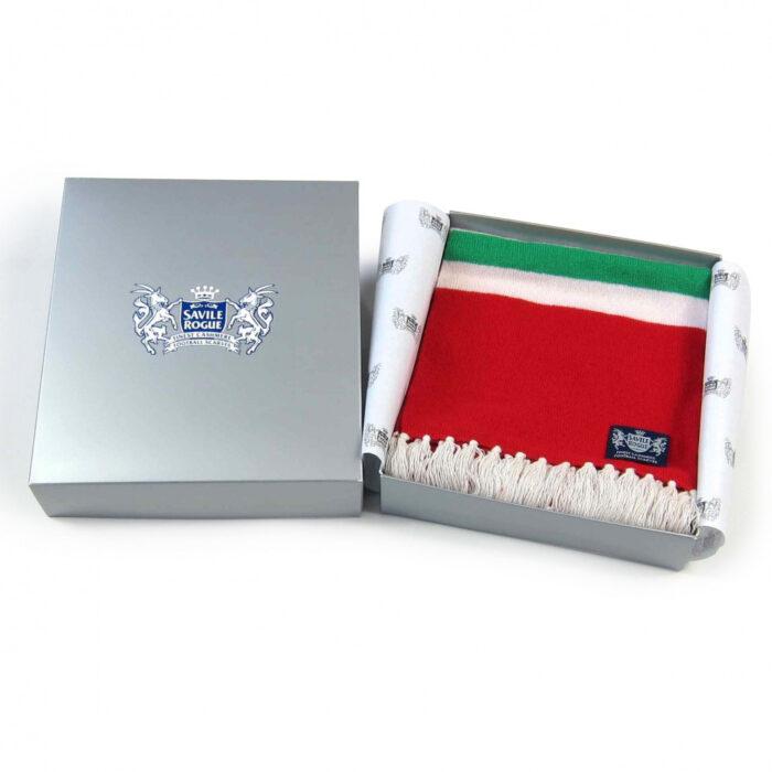 Sciarpa Cashmere Bianco-Rosso-Verde Deluxe