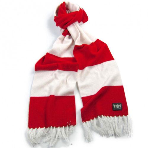 Sciarpa Cashmere Bianco-Rosso Deluxe