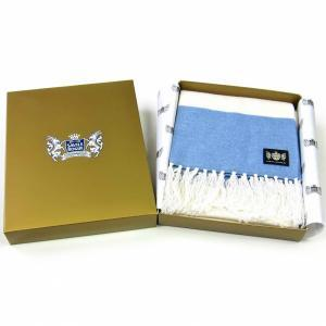 Sciarpa Cashmere Bianco-Celeste Deluxe